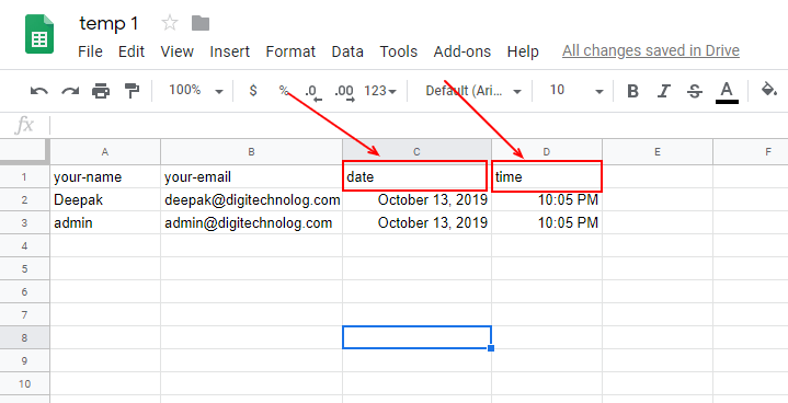 Automatically Add Time and Date to the CF7 Entries in Google Sheets