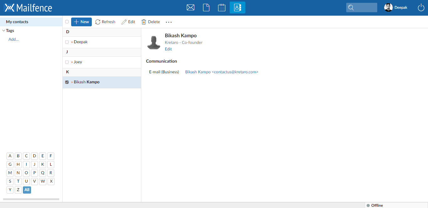 Mailfence-Contacts