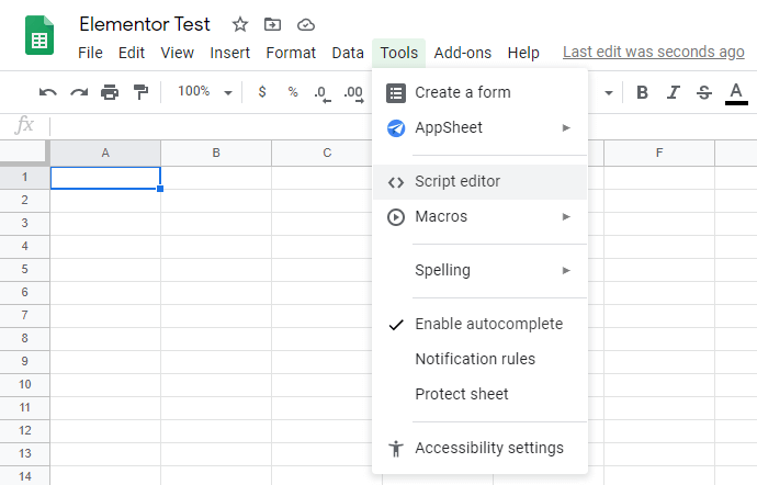 Creating a New Google Sheets and Going to Script Editor