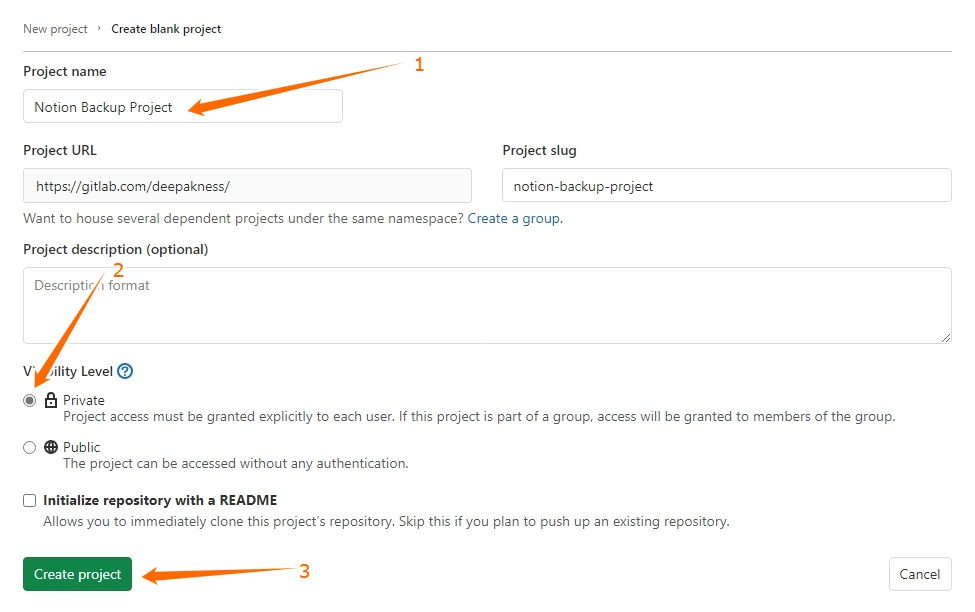 Create New Blank GitLab project