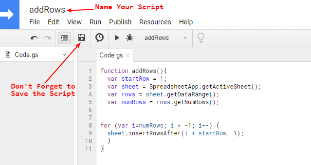 Google Script Code Editor - Copy and Paste the Code
