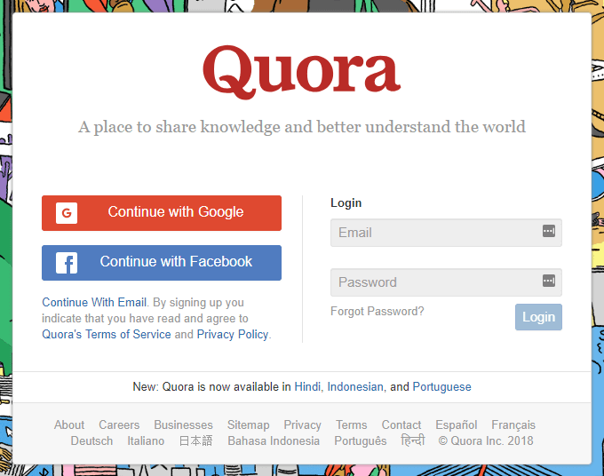 Create an Account with Quora