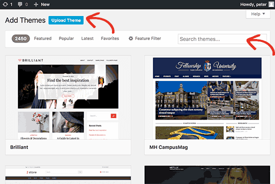 Search and Upload New theme to your wordPress website