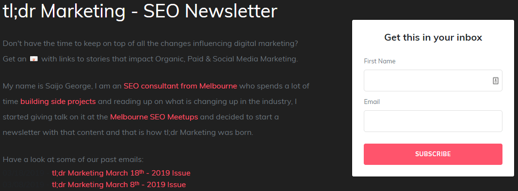 SEO NewsLetter by TLDR - Example