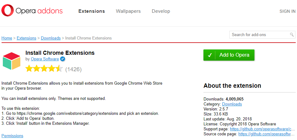 Add to Opera - Install Chrome Extensions
