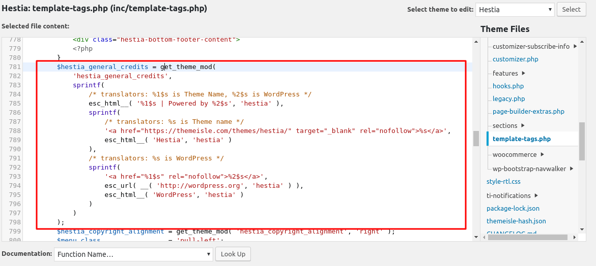 Hestia code for editing footer credit