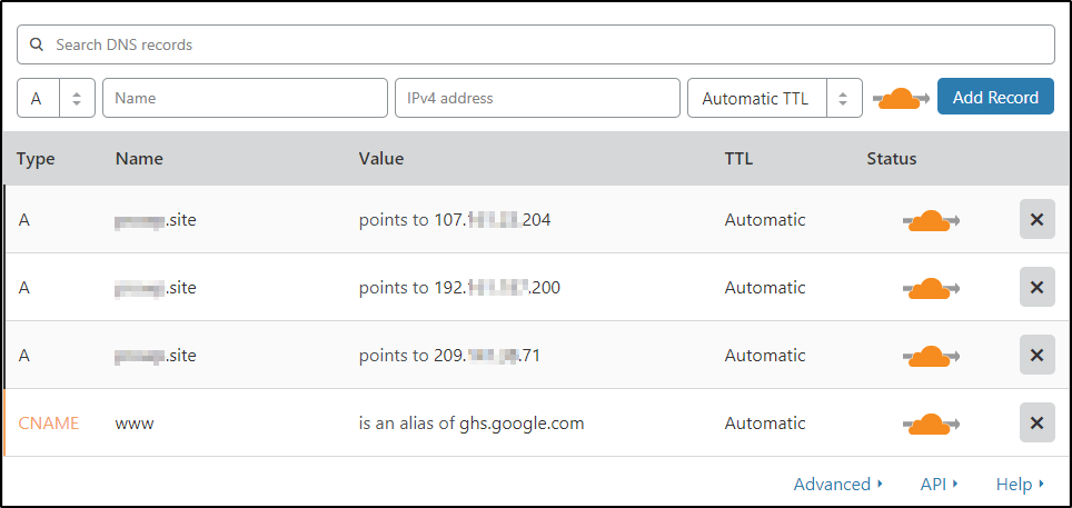 verify the dns settings with the current domain dns settings